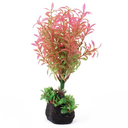 Fish Tank Aquarium Plastic Artificial Fake Under Water Plant Decor Red Green - Dark Red Face
