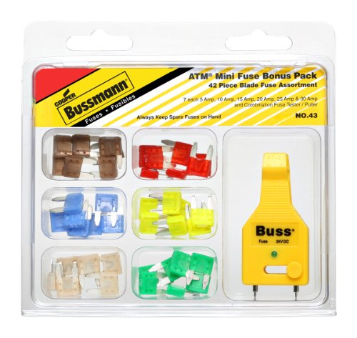 Bussman NO.43 Atm Mini Blade Fuse Kit Contains  Atm-5, 10, 15, 20, 25 & 30 Amp Fuses And Ft-3 Fuse Tester/Puller C