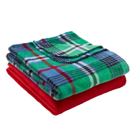 "Mainstays Fleece Plush Throw Blanket, 50"" x 60"", Green Plaid, 2 Pack"