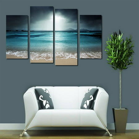 Holiday Clearance 4 Panels Azure Sea Sky Seascape Unframed Oil Paintings Wall Art Decor for Living Room (Rousseau Oil Painting)