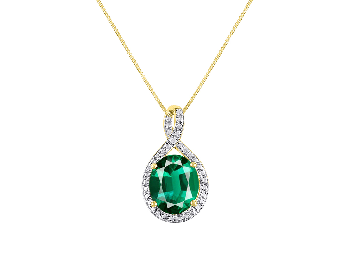"""Details about  /10k White Gold Oval Emerald And Diamond Pendant with 16/"""" Chain"""