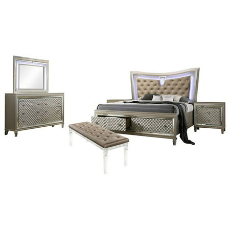 Aviv 6 Piece Bedroom Set, Queen, Champagne Wood, Transitional (Storage  Panel Bed, Dresser, Mirror, 2 Nightstands, Bench) With Beige Faux Leather  ...