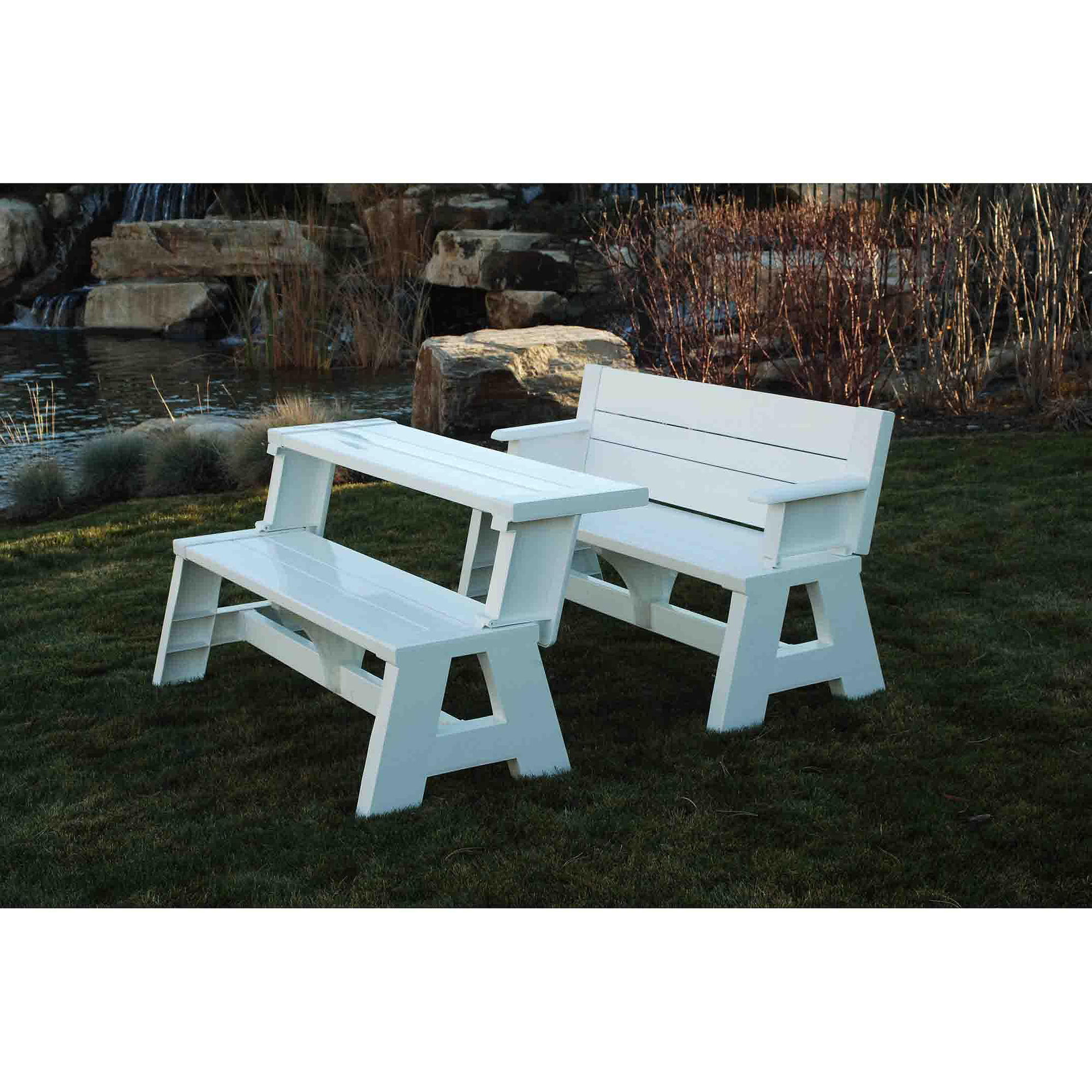 Awe Inspiring Convert A Bench Outdoor Bench And Picnic Table Walmart Com Evergreenethics Interior Chair Design Evergreenethicsorg