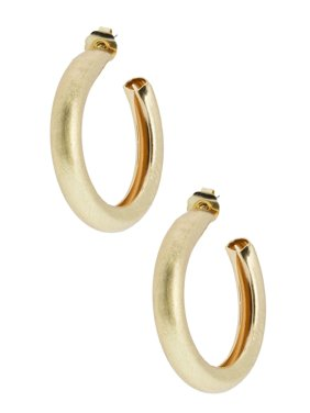 Gold hoop earring with post backing