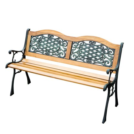 GHP Outdoor Garden Hardwood Cast Iron Frame Park Bench Furniture ()