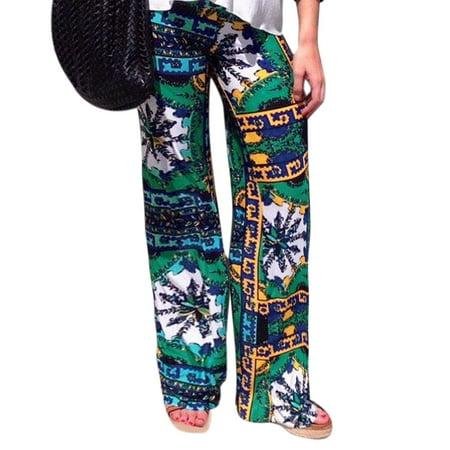 Womens Snowflake Prints Elastic Waist Wide Leg Casual Pants Green  Size L   12
