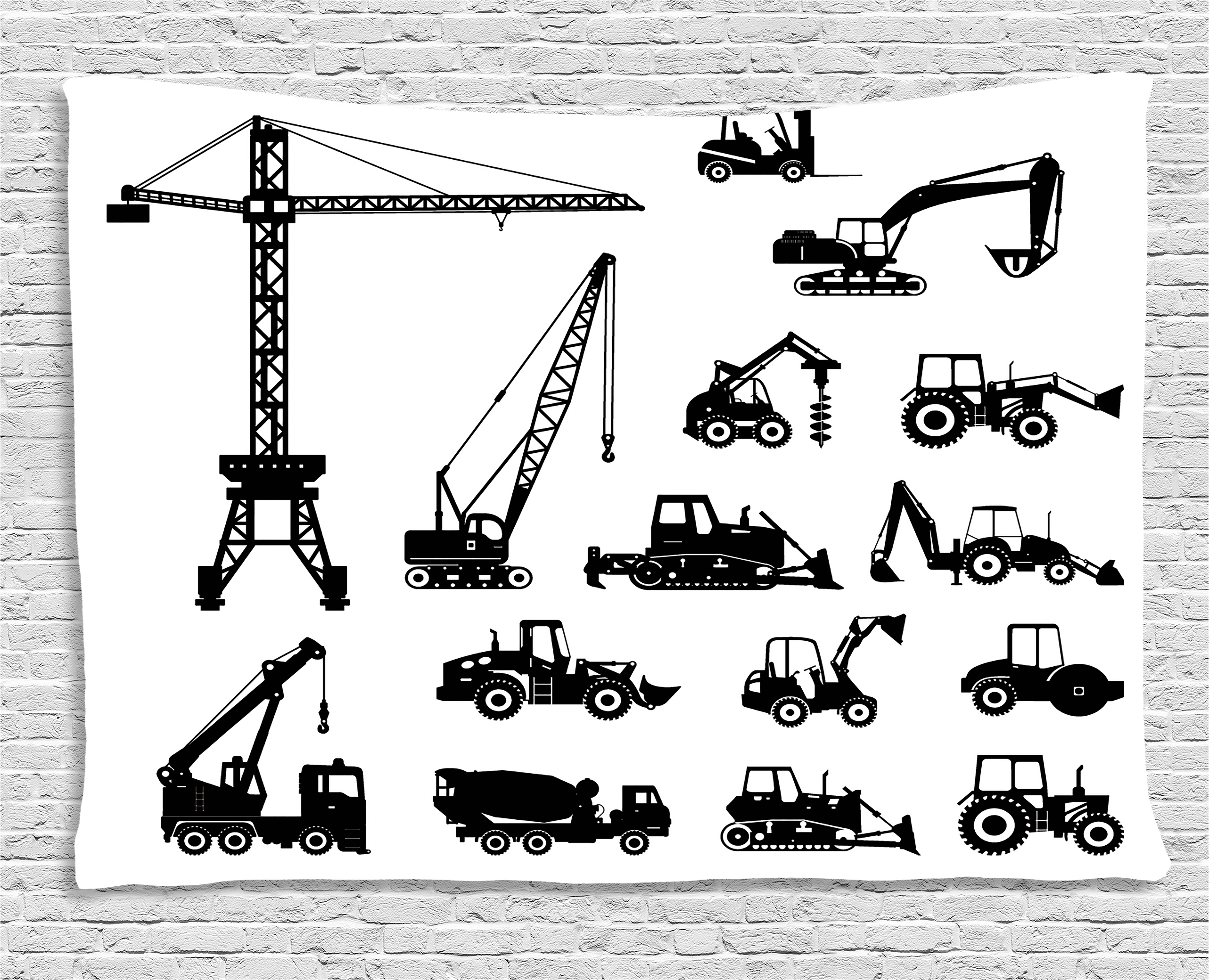 Construction Tapestry, Black Silhouettes Concrete Mixer Machines Industrial Set Trucks Tractors, Wall Hanging for... by Kozmos