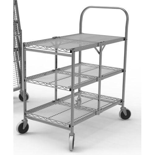 "Wire Cart,Silver,39-1/2"" H,19-1/2"" L LUXOR WSCC-3"