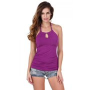 Sleeveless Backless Solid Casual  Clothes Women Party Blouse Tank Tops Halter Ruched RllYE