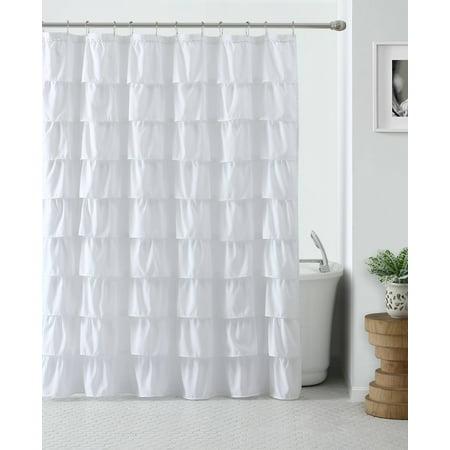 Shabby Ruffled Fabric Shower Curtain