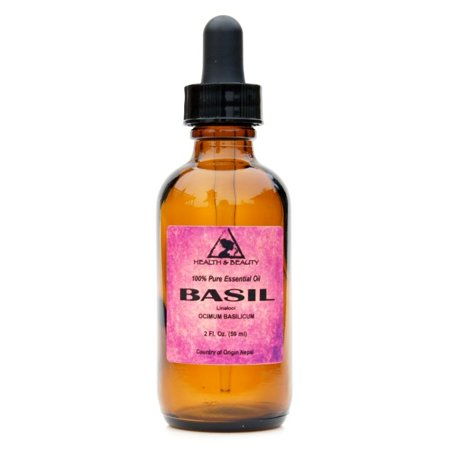 BASIL ESSENTIAL OIL LINALOOL AROMATHERAPY 100% PURE GLASS DROPPER 2 OZ, 59 ml