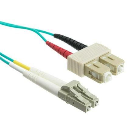 6.6 ft. Gigabit Aqua LC & SC Multimode Duplex Fiber Optic Cable - 50 by 125