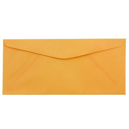 JAM Paper #10 Business Envelope, 4 1/8 x 9 1/2, Brite Hue Ultra Orange, 50/pack
