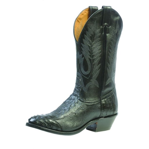 Boulet Western Boots Men Cowboy Exotics Ostrich Smooth Black Calf 1513