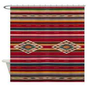 CafePress - Southwest Red Serape Saltillo - Unique Cloth Shower Curtain