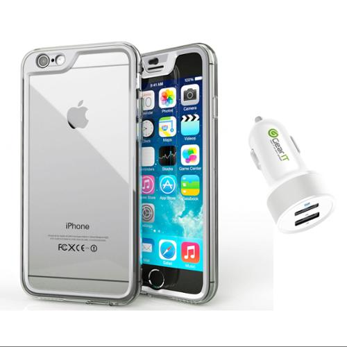 iPhone 6 Case Bundle (Case + Charger), roocase iPhone 6 4.7 Gelledge Hybrid PC / TPU Protective Full Body Case Cover with White 4.4A Car Charger for Apple iPhone 6 4.7-inch, Alpine White