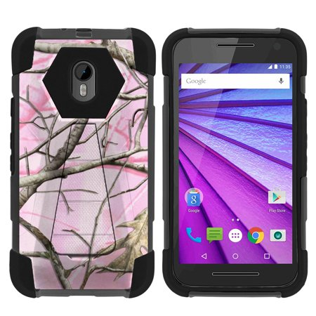 Case for Motorola Moto G 3rd Gen | Moto G3 Hybrid Cover [ Shock Fusion ] High Impact Shock Resistant Shell Case + Kickstand - Pink Hunters - 3rd Degree Silicone