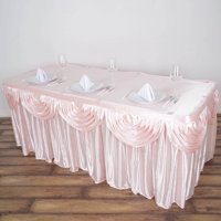 Efavormart Satin Double Drape Table Skirt Table Covers For Rectangle Or Round Tables 14Ft