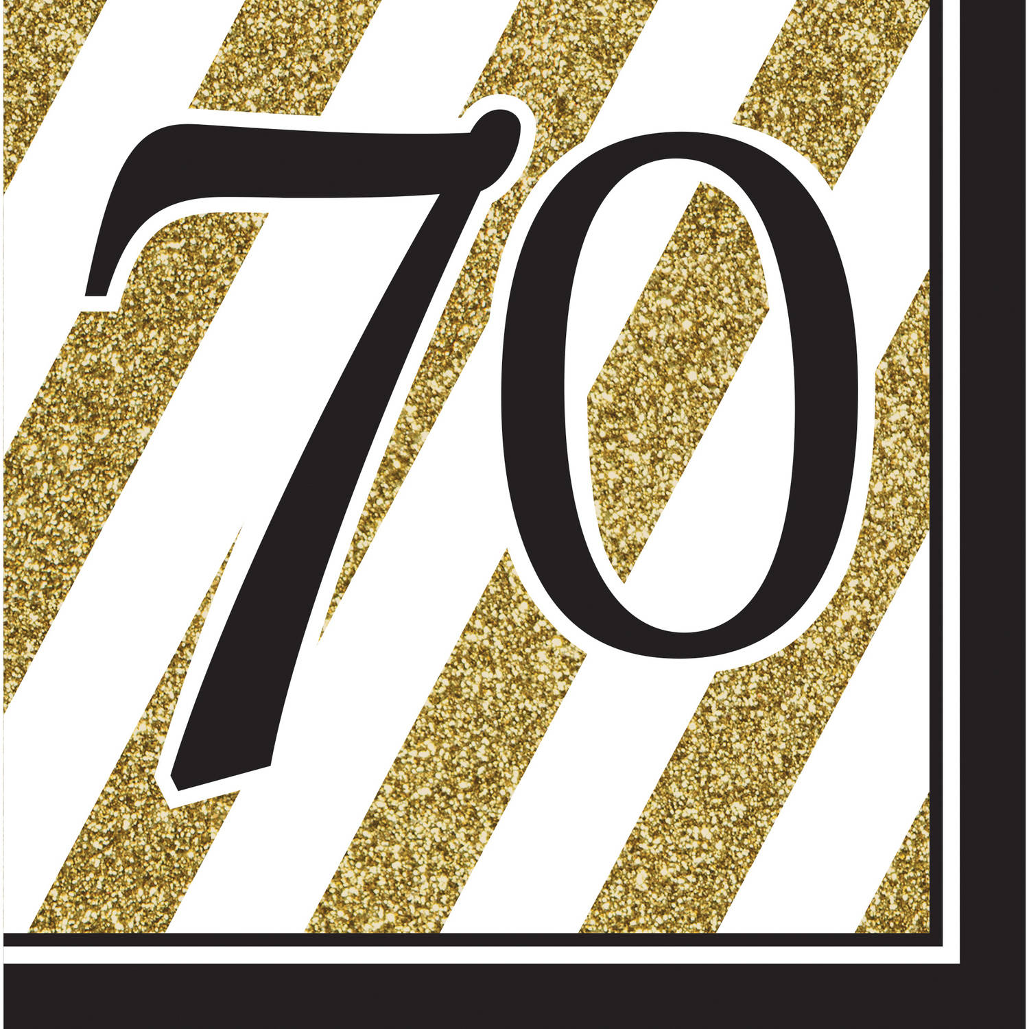Black and Gold 70th Birthday Napkins, 16pk