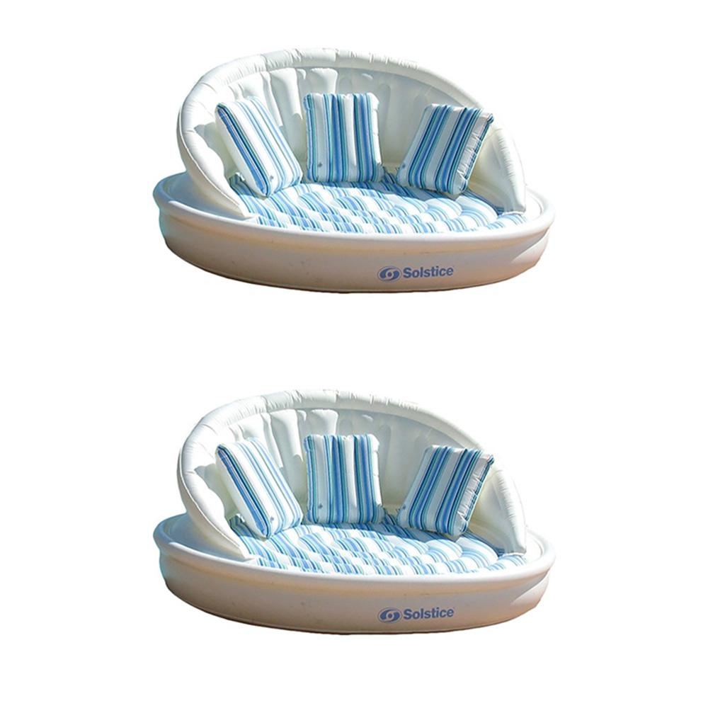 2-Pack Swimline Solstice Inflatable 3-Person AquaSofa Raf...