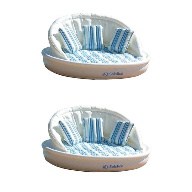 2-Pack Swimline Solstice Inflatable 3-Person AquaSofa Rafts + Pump | 2 x 15135HR