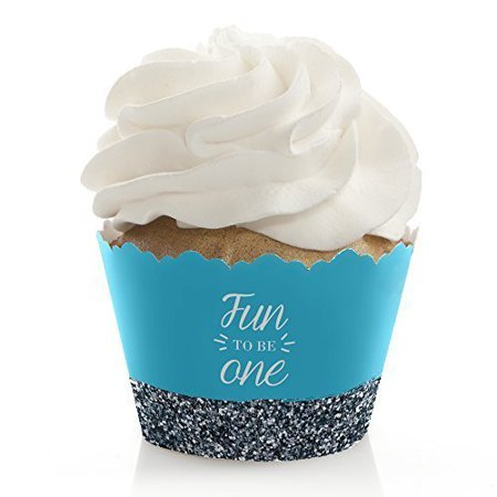 1st Birthday Boy Party Supplies (Fun to be One - 1st Birthday Boy - First Birthday Party Cupcake Wrappers - Set of)