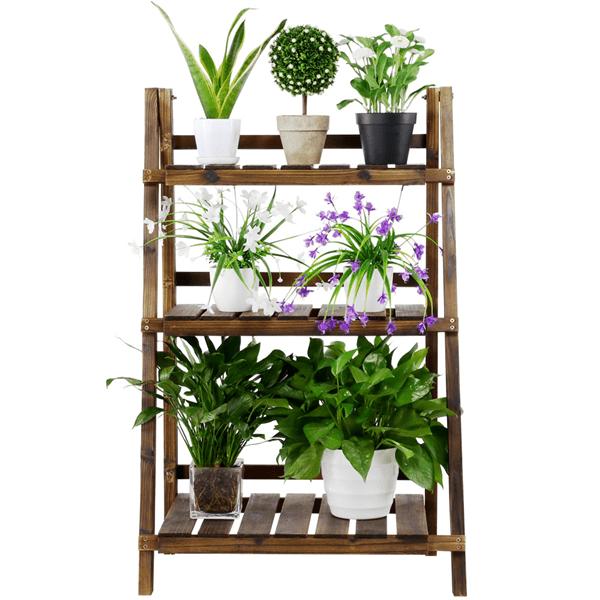 3 Tier Wood Plant Stand Folding Display Shelf Rack Indoor Indoors & Outdoors,Brown