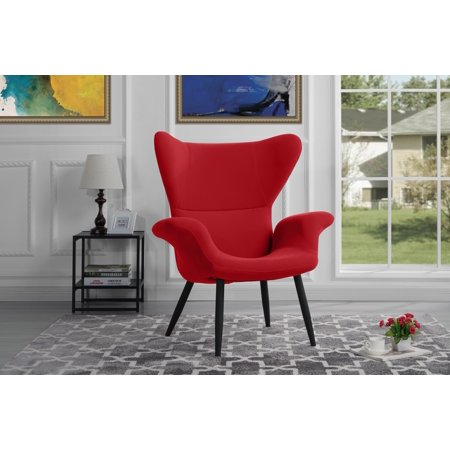 Contemporary Velvet Accent Armchair, Futuristic Style Living Room Chair (Red Leather Contemporary Chair)