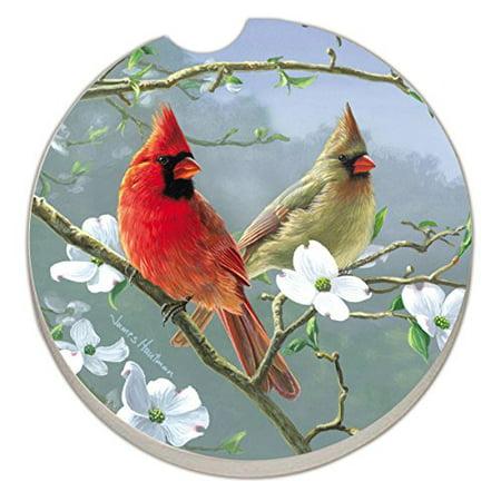 Counter Art Absorbent Stoneware Car Coaster, Beautiful Songbirds Cardinals - image 2 de 2