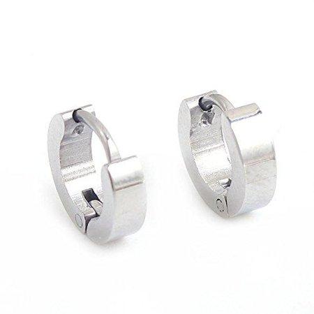 Sexy Sparkles Titanium Steel Mens Womens Hoop Earrings Piercings Huggie Hypoallergenic
