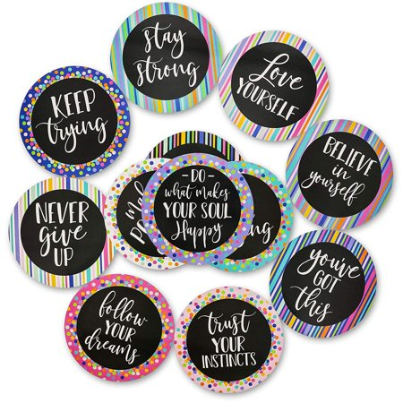 Paper Junkie 48-Count Set Positive Sayings Cutouts, Bulletin Board Decorations, 12 Designs, 6 Inches ()