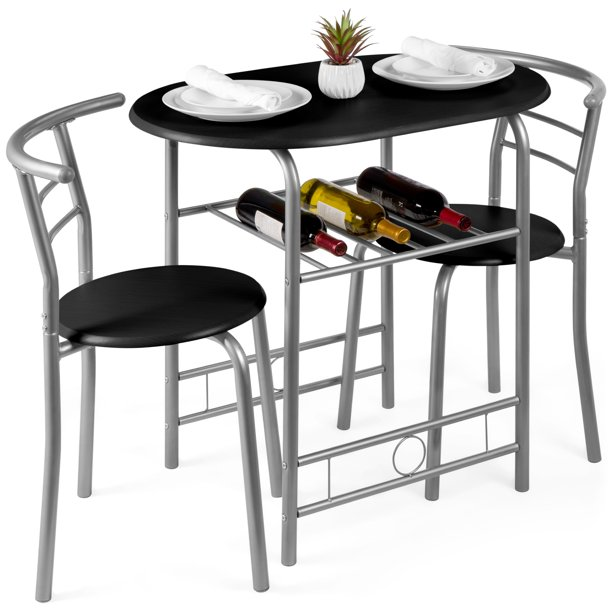 Best Choice Products 3-Piece Wooden Dining Room Round Table & Chairs Set w/ Steel Frame, Built-In Wine Rack - Black
