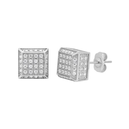 Men S Sterling Silver Cz Pave Square Stud Earrings