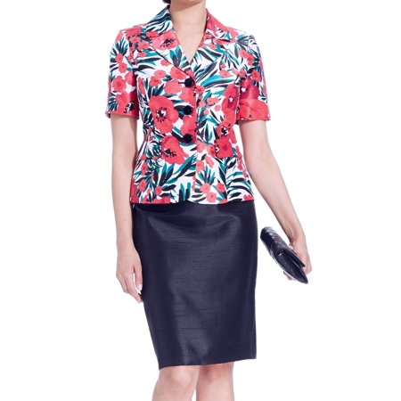 Le Suit NEW Pink Black Green Women's Size 14 Seamed Skirt Suit Printed Set $200