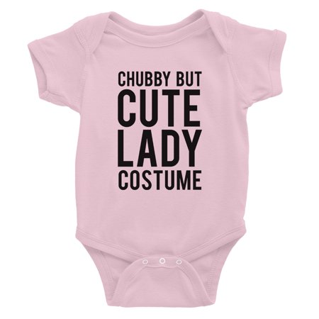 Chubby But Cute Lady Costume Baby Bodysuit Gift Pink - Cute Chubby Teen