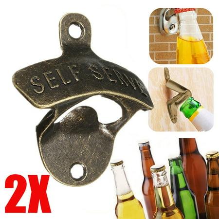 Stainless Steel Wall Mount Bar Beer Glass Cap Bottle Opener](Wall Beer Opener)