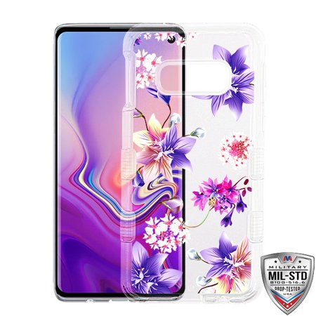 Samsung Galaxy S10e /S10 E Phone Case Tuff Hybrid Shockproof Impact Rubber Bumper Cover [Impact Resistant] Protective Hard Clear Cover Purple Stargazers Flower Case for Samsung Galaxy S10 E, S10e - Clear Purple Housing
