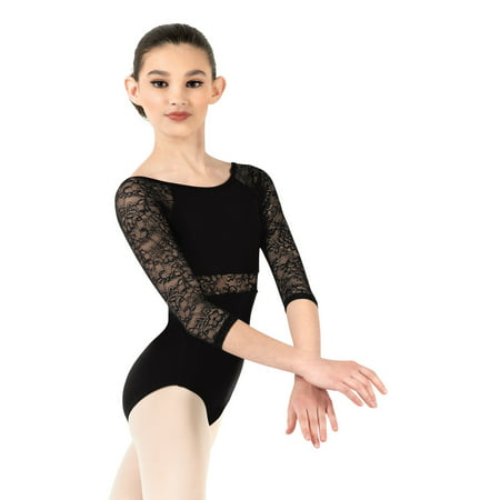 Child Floral Lace 3/4 Sleeve Leotard