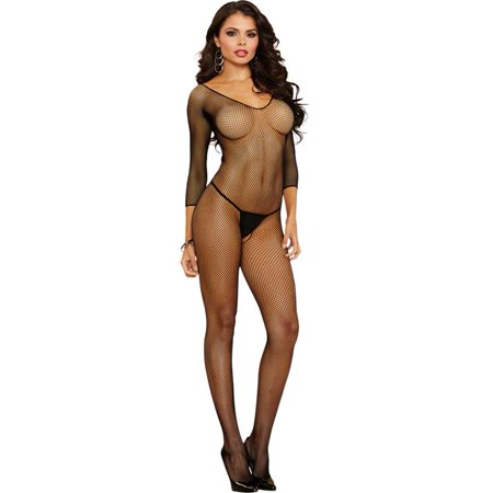 Amsterdam Fishnet Open Crotch Bodystocking, One Size, Black](Plus Size Bodystockings)