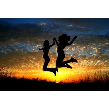 LAMINATED POSTER Flight Girl Balloons Sky Clouds Bounce Sunset Sun Poster Print 24 x 36