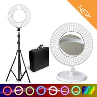 """Comforday 14"""" RGB Dimmable Ring Light, Multi-Color RGB Lights and 3200K-5500K Light Temperature with Tripod, Desk Stand, Phone Seat, Phone Holder ,Carrying Bag, Double Side Mirror"""