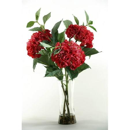 Plum Hydrangeas In Tall Glass Vase Walmart