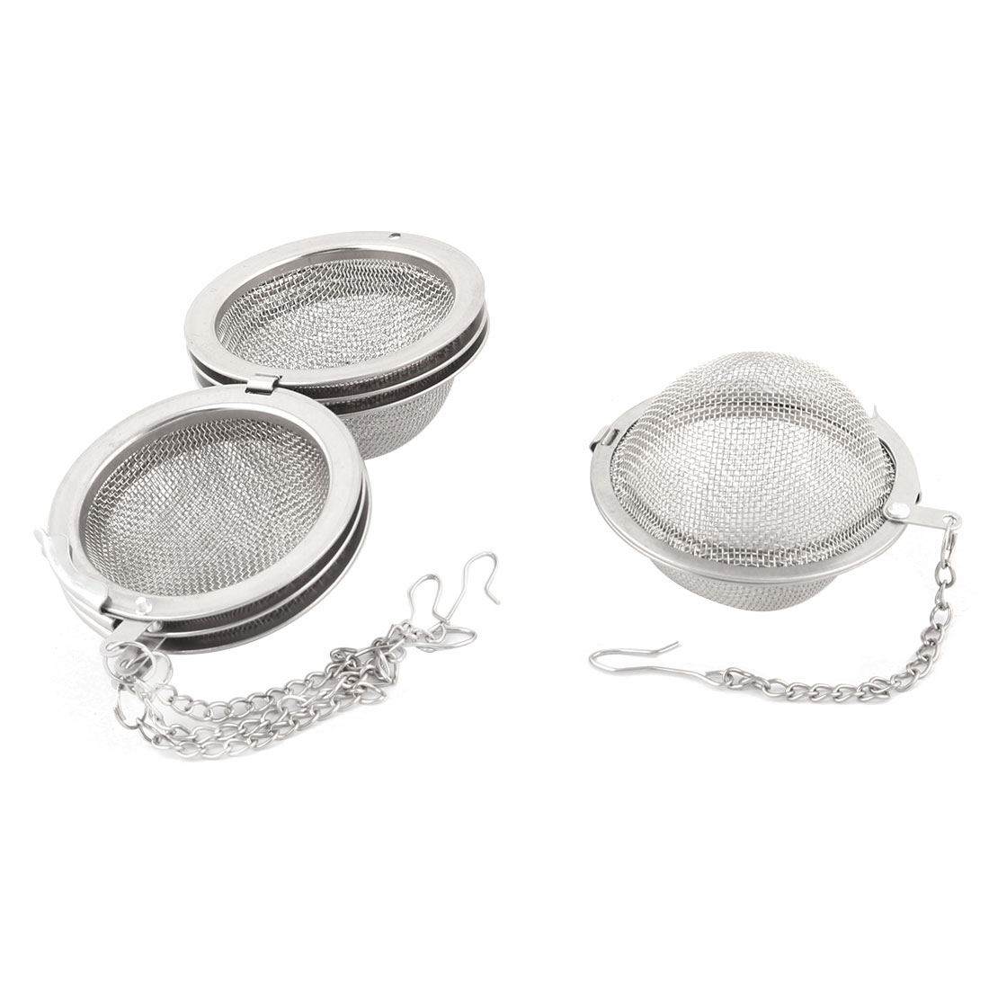 Stainless Steel Leaves Meshy Tea Ball Filter Strainer Infuser Silver Tone 4pcs