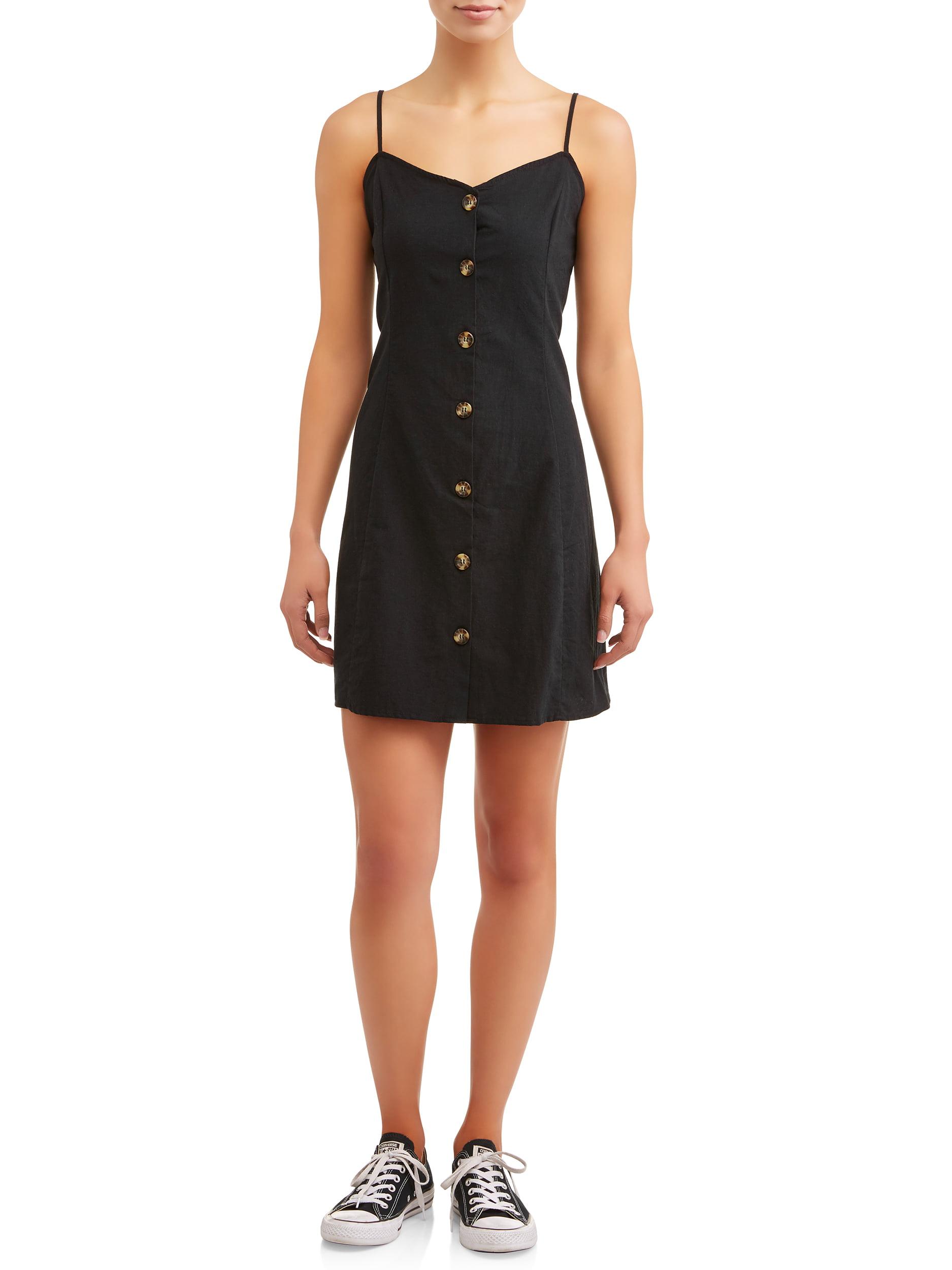 Juniors' Button Front Cami Dress with Princess Seams