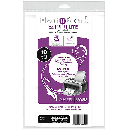 "Heat'n Bond EZ, Print Lite Iron-On Adhesive 8, 1/2"" x 11"", White, 10pk"
