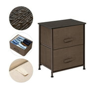 2-Tier Dresser Drawer, Storage Unit with 2 Easy Pull Fabric Drawers and Metal Frame, Wooden Tabletop, for Closets, Nursery, Dorm Room, Hallway, Brown