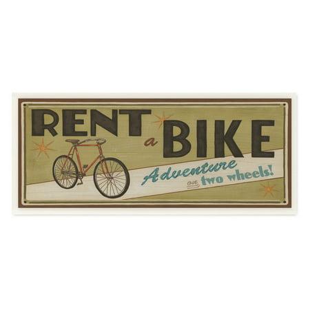 Stupell Decor Khaki Rent A Bike Store Sign Wall Plaque Art