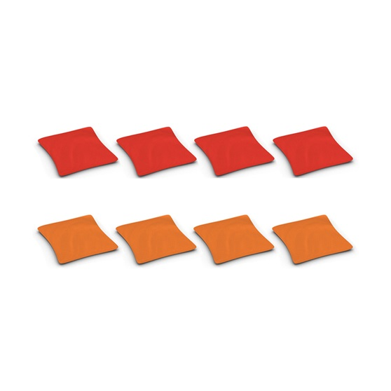 Duck Cloth Cornhole Beanbags, Set of 8 Bags in 2 Colors (Red & Orange)