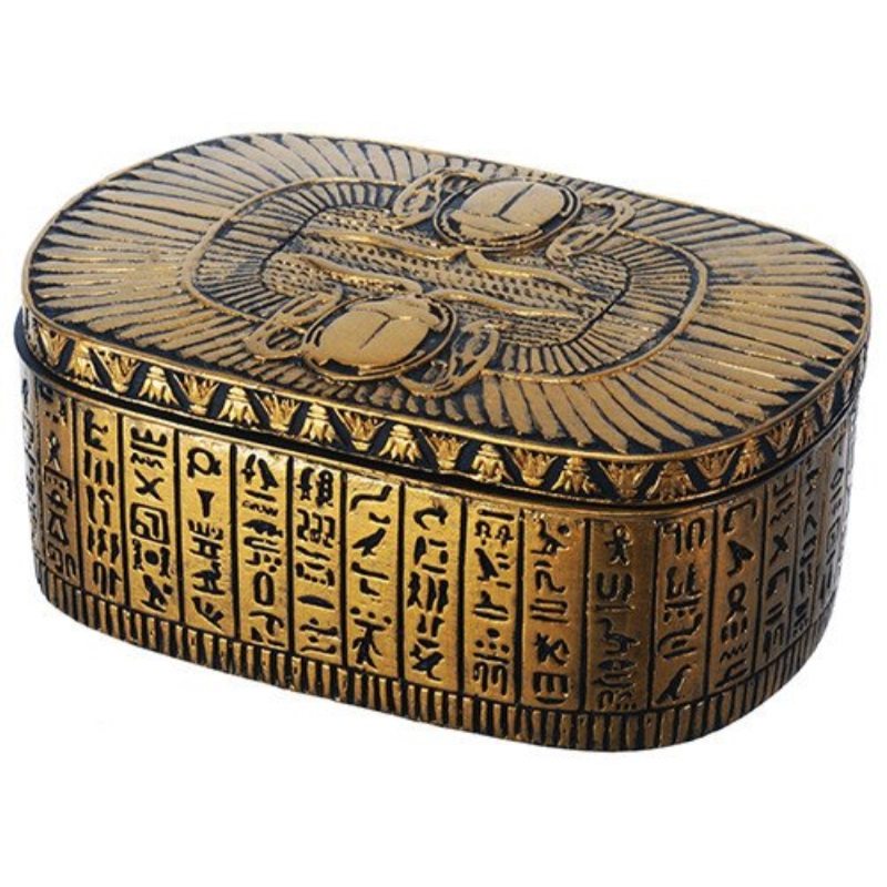 Egyptian Themed Dual Winged Scarab Amulet Golden Jewelry Trinket Box