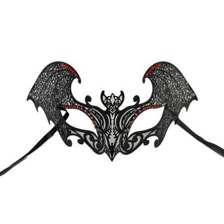 Black Gothic Bat Red Mask Masquerade Metal Filigree Halloween (Gothic Halloween Font)